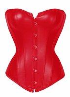 MOONIGHT Sexy Rosso Legato Faux Leather Overbust Burlesque Del Corsetto Top Baschi Intima Più Bustier della biancheria dei commerci all'ingrosso Sml XL 2XL