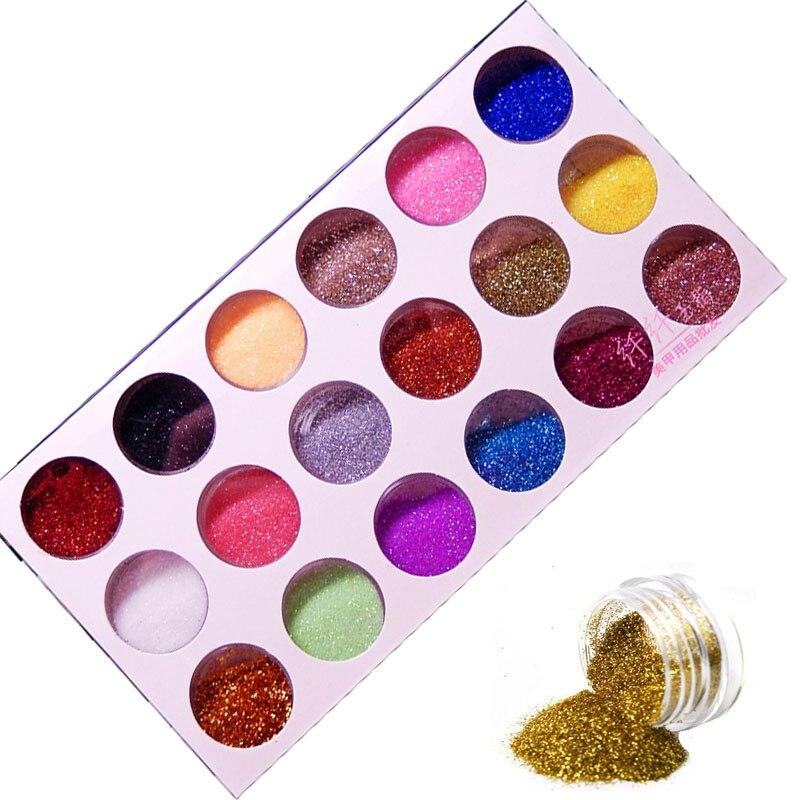 Móda 18 barev Mix UV Gel Nail Art Glitter Prachový prášek pro UV - Manikúra