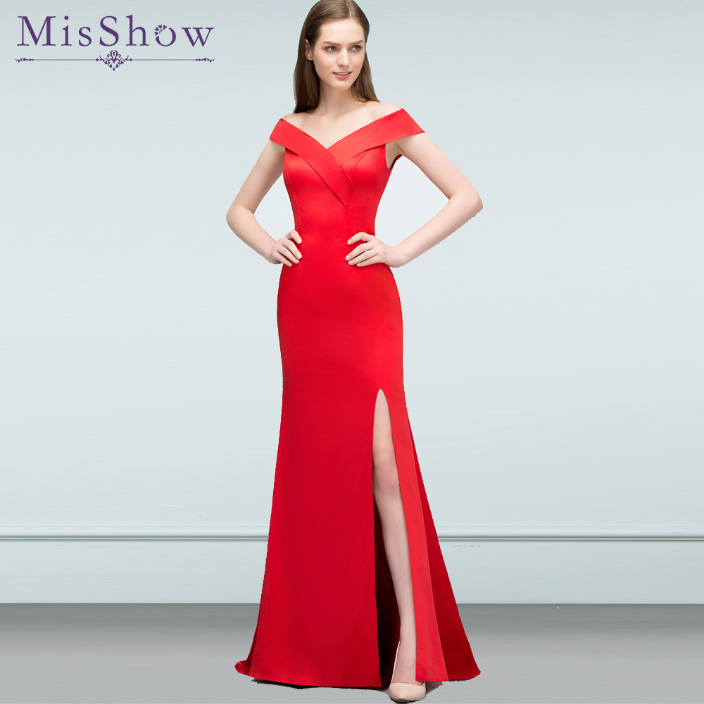 Us 4882 31 Offin Stock Prom Dresses Long Vestidos De Fiesta Largos Elegantes De Gala Red Satin Mermaid Formal Evening Dress Party Gown 2019 In