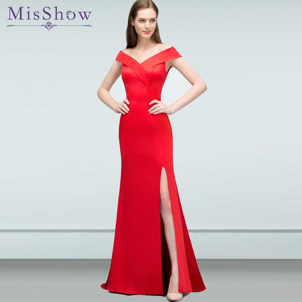 97769defd Vestidos de fiesta largos vestidos de fiesta elegantes de gala sin mangas  rojo satinado sirena Formal