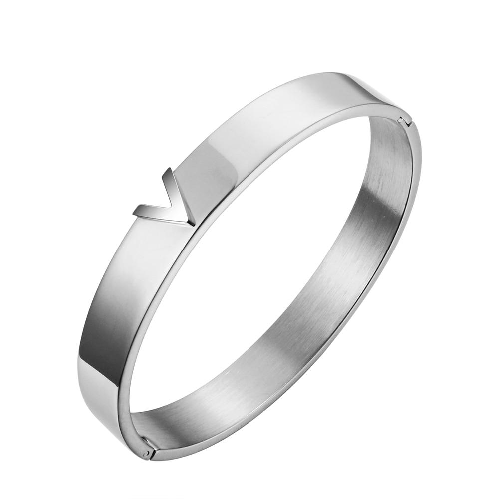 Trendy V Shape RVS Armbanden & Bangles voor vrouwen Vrouwelijke - Mode-sieraden - Foto 2