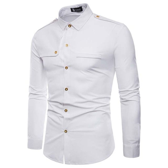 3ae8e4929ff Men Shirt Casual Solid Color white Fashion Cargo Shirts Long-Sleeve Male  Slim Fit Camisa Masculina Chemise Homme black red black