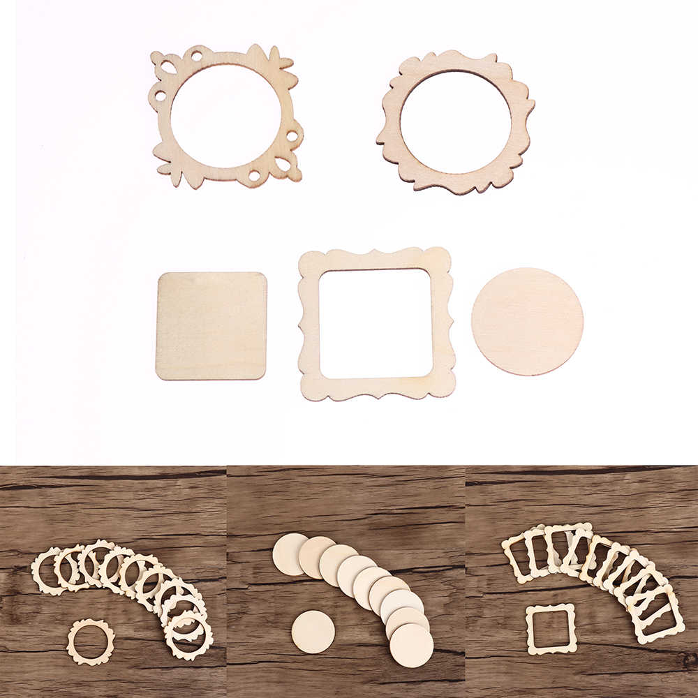 10Pcs/set Unfinished Frame Carved Wooden Ornaments Embellishment For Scrapbooking Card Wall Tree Christmas DIY Crafts Decor
