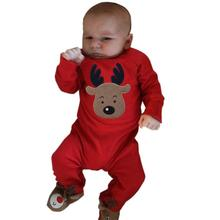 Winter Christmas Baby Rompers Cartoon Deer Printed Long Sleeve Warm Rompers Infant Crawling Jumpsuit Toddler Boys Girls Clothes