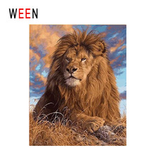 цена WEEN Sunset Lion Diy Painting By Numbers Animal Oil Painting On Canvas Cloud Sky Cuadros Decoracion Acrylic Wall Art Home Decor