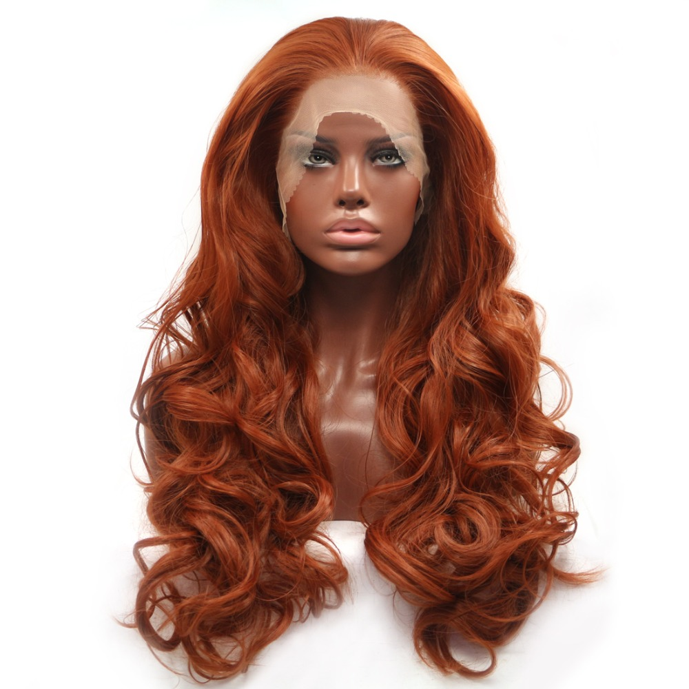 BESTUNG sans colle cuivre rouge Long naturel ondulé partie libre dentelle avant perruques résistant à la chaleur synthétique cheveux perruque pour les femmes