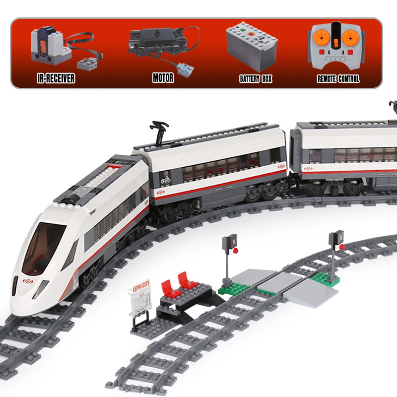 Lepin 02010 The High-speed Passenger Train Building Remote-control Trucks Set Blocks Bricks Toys LegoINGlys 60051 IN-STOCK gift lepin 02010 610pcs city series building blocks rc high speed passenger train education bricks toys for children christmas gifts