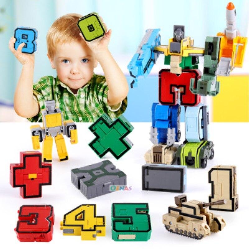 15PCS Assembling Building Blocks Educational Toys Action Figure Transformation Number Robot Deformation Robot Toy for Children