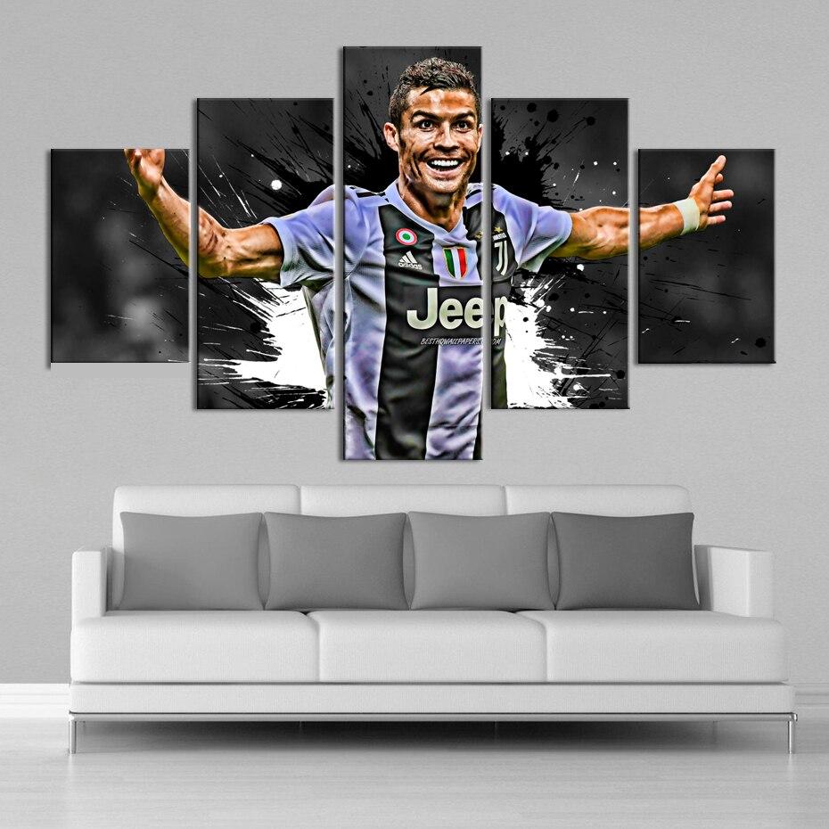 5 Pezzi Cristiano Ronaldo Poster Dipinti A Parete Su Tela Juventus Football Sports Poster Stampe Di Arte Della Parete Camera Dei Bambini Complementi Arredo Casa