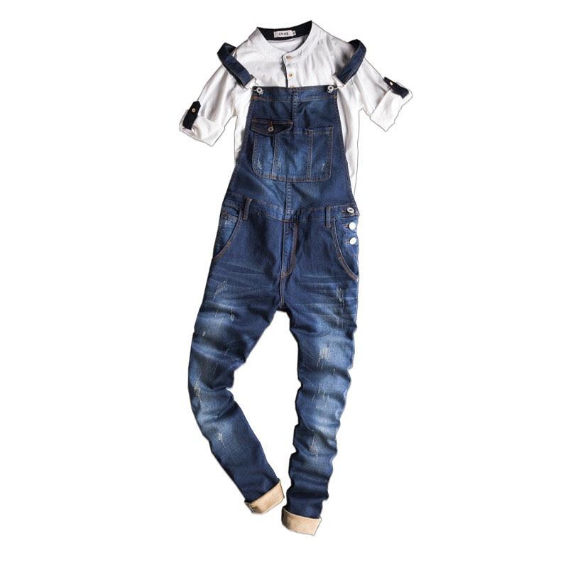 New Mens Bib Denim Overalls Skinny Jeans Ripped Jumpsuit Men Blue Suspender Jeans Men Size M-XXXL 2017 spring autumn fashion mens skinny jean overalls casual bib jeans for men male ripped denim jumpsuit suspenders bibs 010802