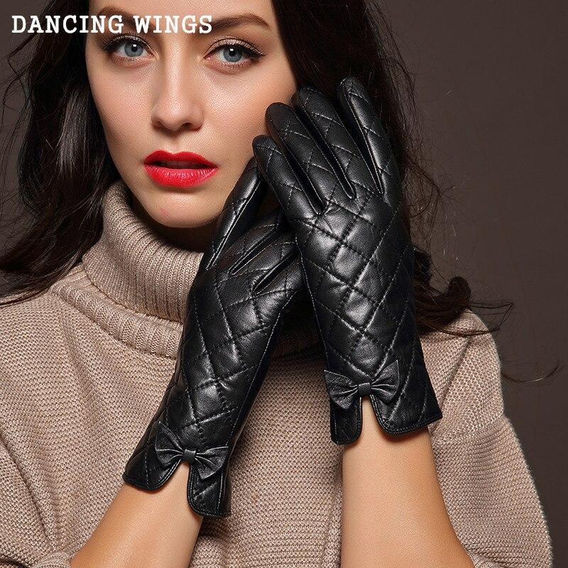 Femme en plein air cyclisme gants en cuir véritable plus velours chaud automne et hiver écran tactile bowknot gants en peau de chèvre