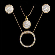 Wholesale Multi Layered Round And Disk Pendant Necklace Stud Earrings Set For Women Gold Plated Rhinestone Bridal Jewelry Set