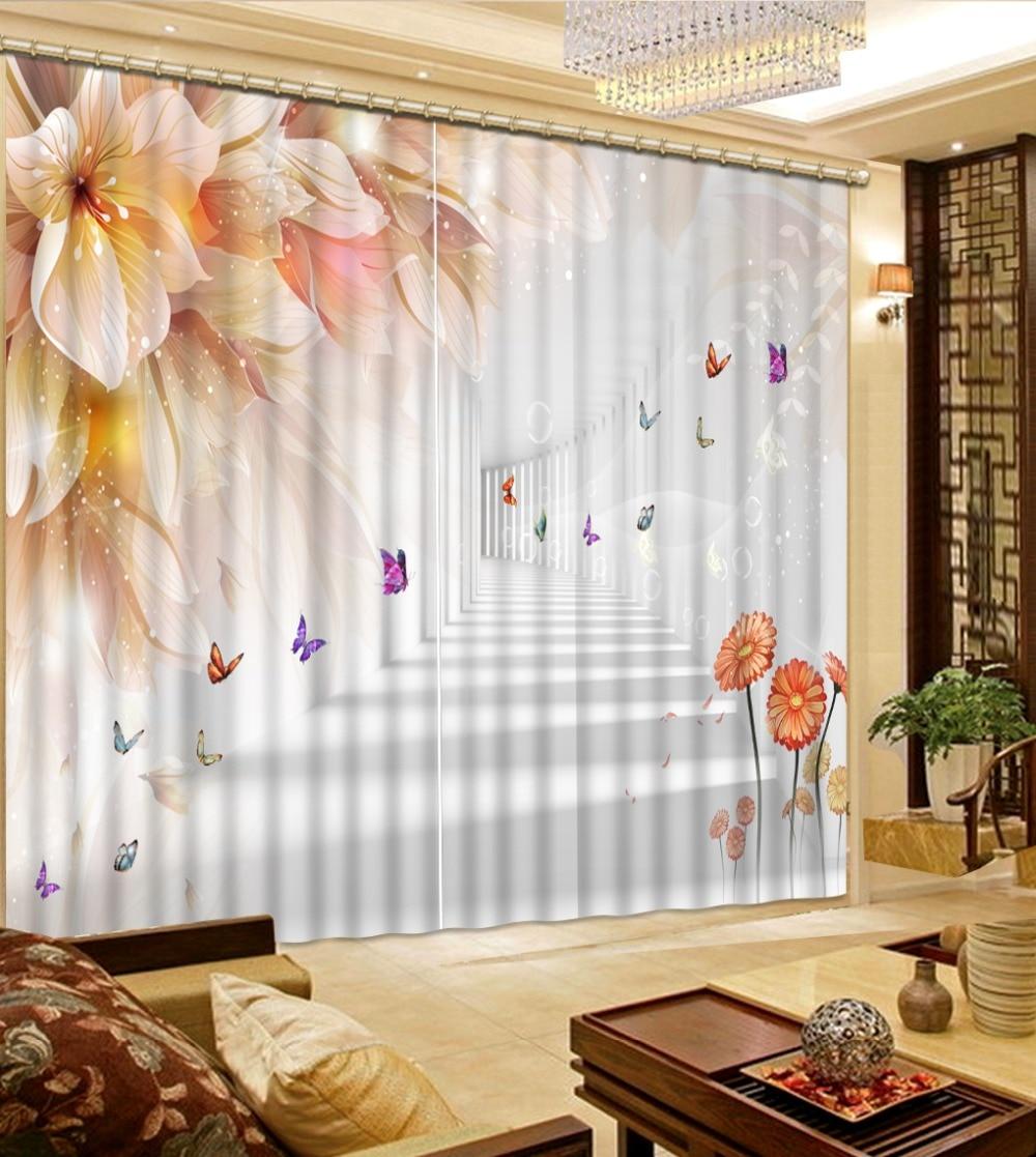High quality custom 3d curtain fabric Photo 3D Curtains for Living Room Window flower curtains