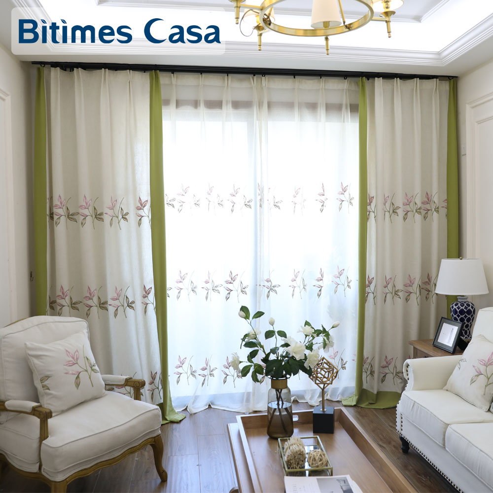 Flower Printing Windows Curtain Drapes Matched Voile For Living Room ...