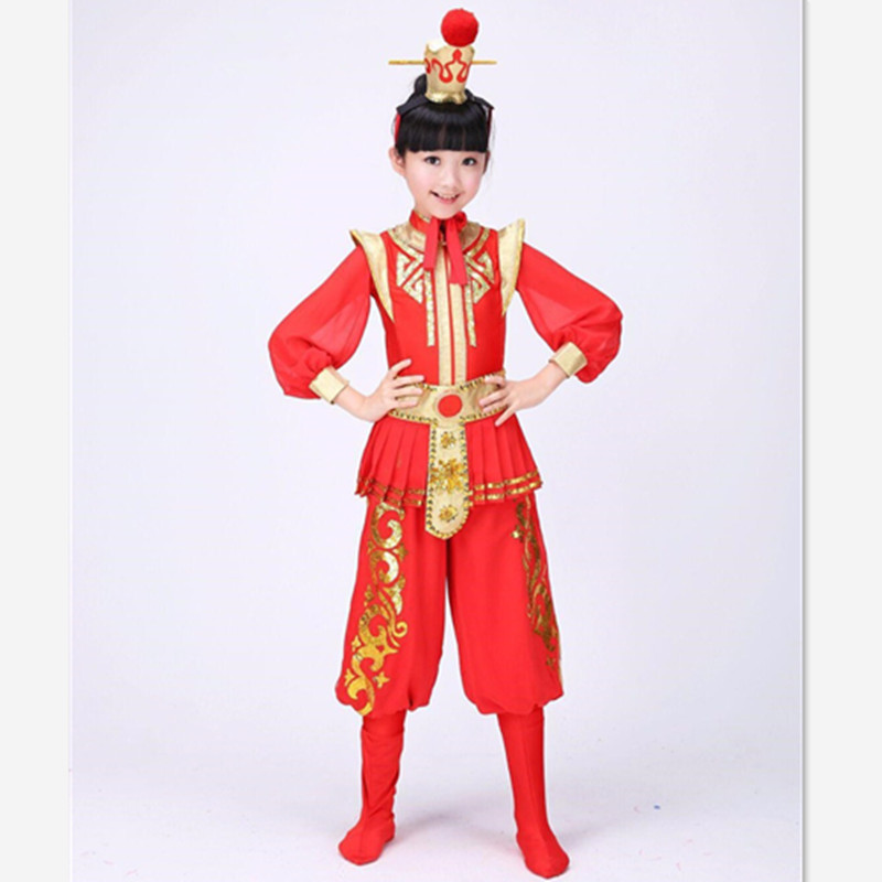 Us 25 41 15 Off Hua Mulan Costume For Children Red Jia Baoyu Cosplay Drum Set Festival Dance Costumes For Children Christmas Dance Clothing On