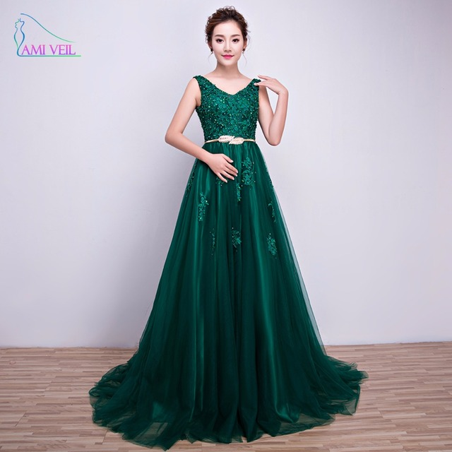 Robe De Soirée Vert Émeraude Perles Appliques V Retour Dentelle Long Robes  de soirée avec Ceinture