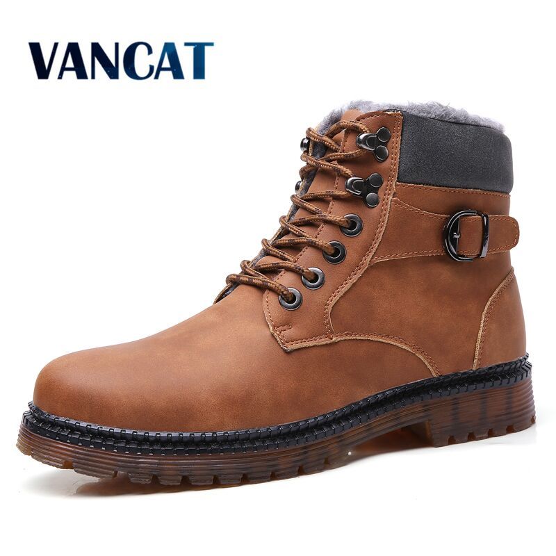 Vancat New Super Warm Plush Men's Winter Split  Leather Ankle Boots Waterproof Snow Boots Winter Motorcycle Boots Men Boots
