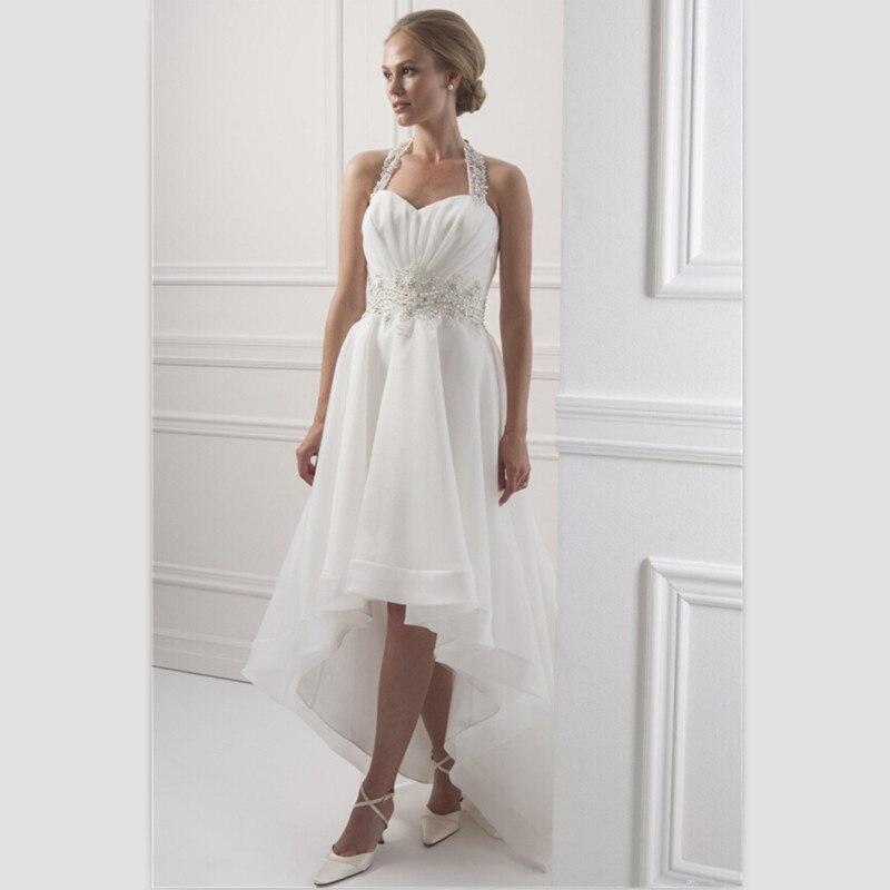 White Chiffon Beach Wedding Dress Short Front Long Back Bridal