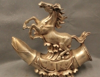 free shipping 12 Chinese Folk Feng Shui Silver Zodiac Year Horse Success Stand lotus root Sta