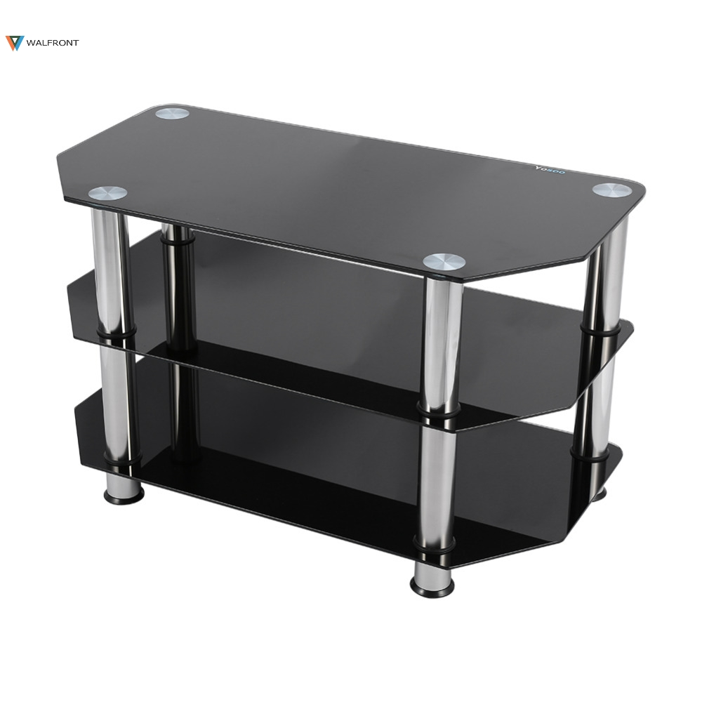 Black Glass 3 Layer Coffee Tables Modern Tv Stand Cabinet
