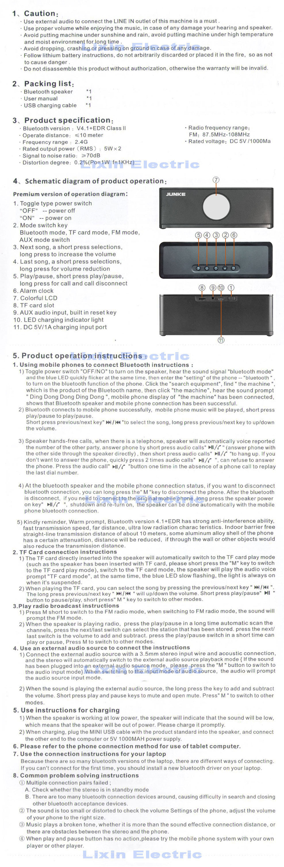 Portable Bluetooth Speaker Super Bass Wireless Stereo Speakers Circuit Schematics On Instrumental Cable Wiring Diagram Junke Pn 99 Instruction Manual