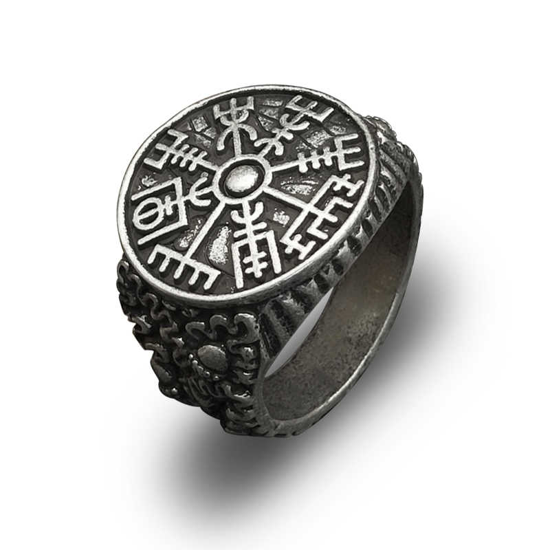 Nordic Men's Badge Ring Viking Compass Vegvisir Rune jewelry adjustable 1pc drop shipping