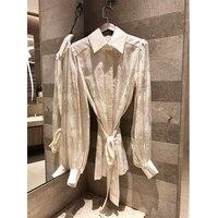 Весна и лето Высокое качество шелк жаккард рубашка для женщин рубашка с длинным рукавом лацканами в богемном стиле