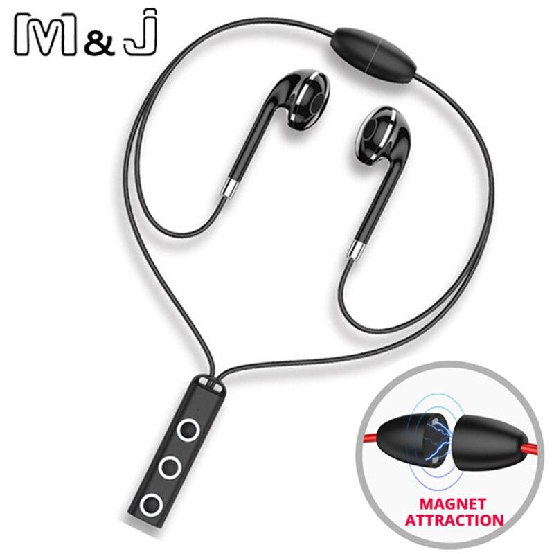 M & J 313 Magnétique Sans Fil Bluetooth Écouteurs Fone de ouvido Pour Téléphone iPhone Samsung Neckband Ecouteur Auriculares