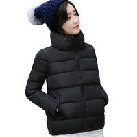 2019 winter autumn cotton padded women jacket female solid color short Korean womens coat wholesale outwear stand collar