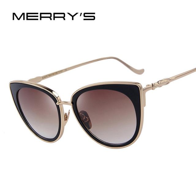 e7e59397100dd MERRY S Gato Olho Mulheres Óculos De Sol óculos de Sol Femininos Famosa  Marca Designer Liga S