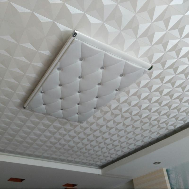 Ceiling Wall Paper 3D Stereo White Diamond PVC Embossed Wallpaper Waterproof Living Room Bedroom Ceiling Decorative Wallpaper