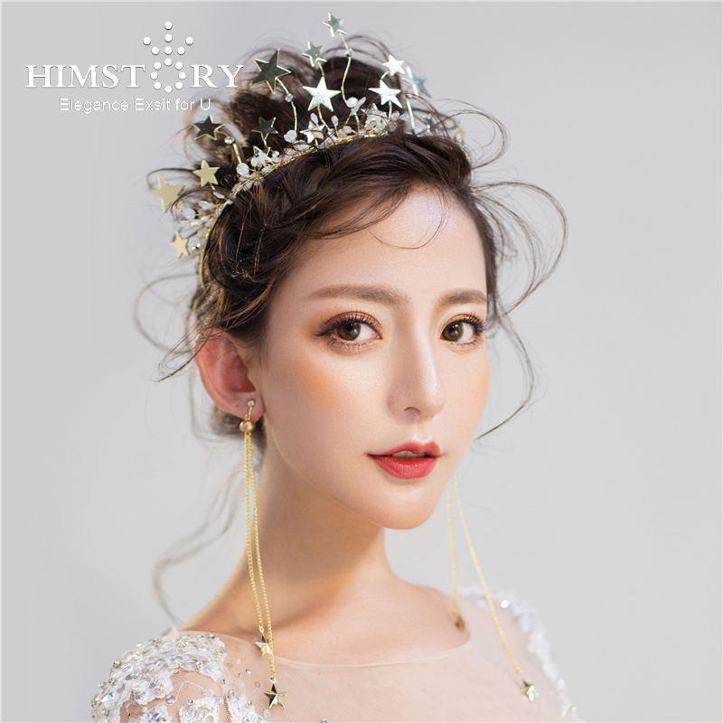 Detail Feedback Questions about HIMSTORY Charming Star Women Crown Crystal  Bridal Tiara Fascinator Wedding Hair Jewelry Gold Crown Earring Hair  Accessory on ... 8bbcd94b881