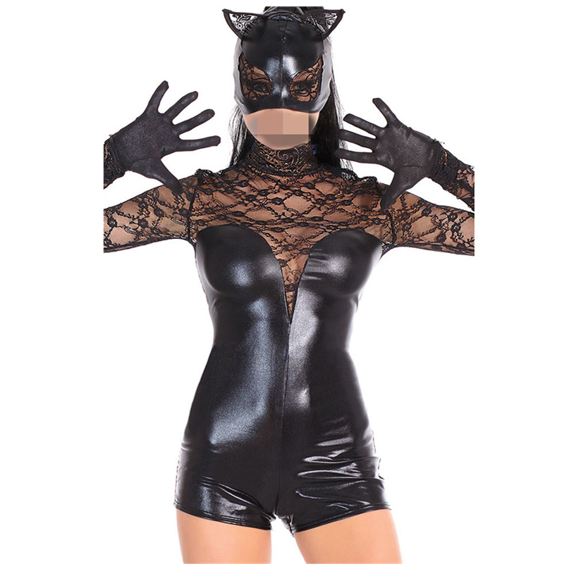 Halloween Costumes Adult Women Deluxe Leather Lace <font><b>Sexy</b></font> Set Cosplay <font><b>Cat</b></font> Lady Catwoman Costume Catsuit Jumpsuit Cosplay Costumes image