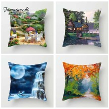 Fuwatacchi Oil Painting Style Cushion Cover Colorful Scenic Printed Pillow Lake Chalet Sea Decorative Pillows For Sofa Car