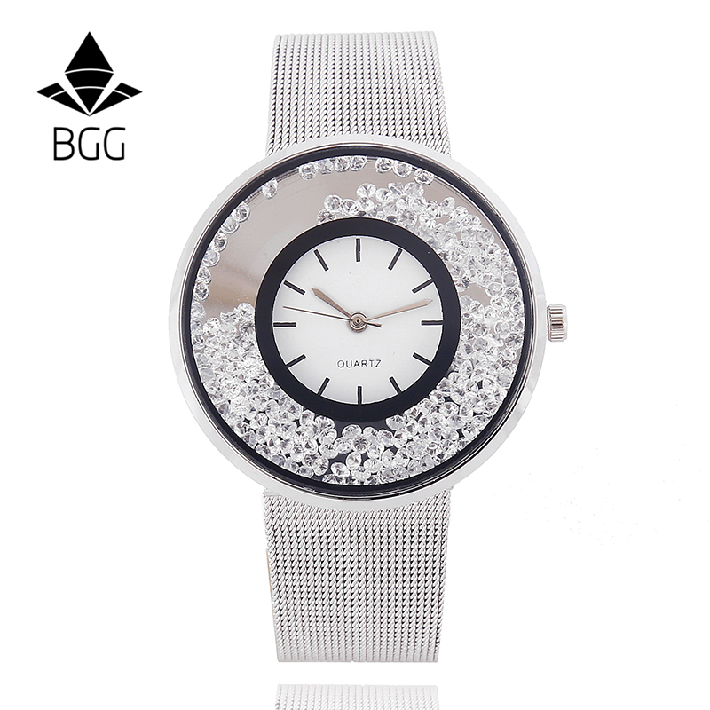 Hot Fashion Stainless Mesh Strap Watch Women Crystal Dial Poplular BGG Brand wristwatches Ladies Gold Silver
