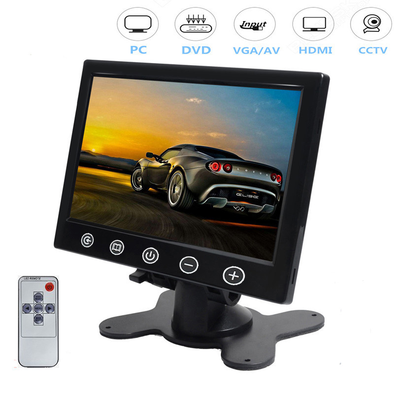 Moniteur de voiture couleur 7 pouces HD Ultra mince TFT LCD inversion de la caméra de recul de stationnement 2 entrées vidéo HDMI VGA AV avec haut-parleur
