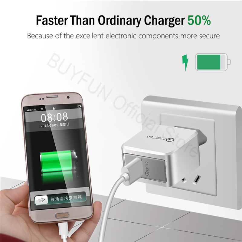 QC3.0 Quick Charge стены Зарядное устройство Android кабель телефон Зарядное устройство кабель для samsung Xiaomi huawei sony адаптер Micro-USB данных шнур 1 м