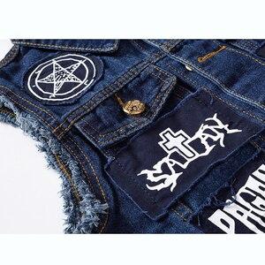 Image 3 - New Hip Hop Mens Patches Design Jeans Vest Ripped Denim Waistcoat Men Denim Vest Man Sleeveless Jeans Vest Frayed MJ 101