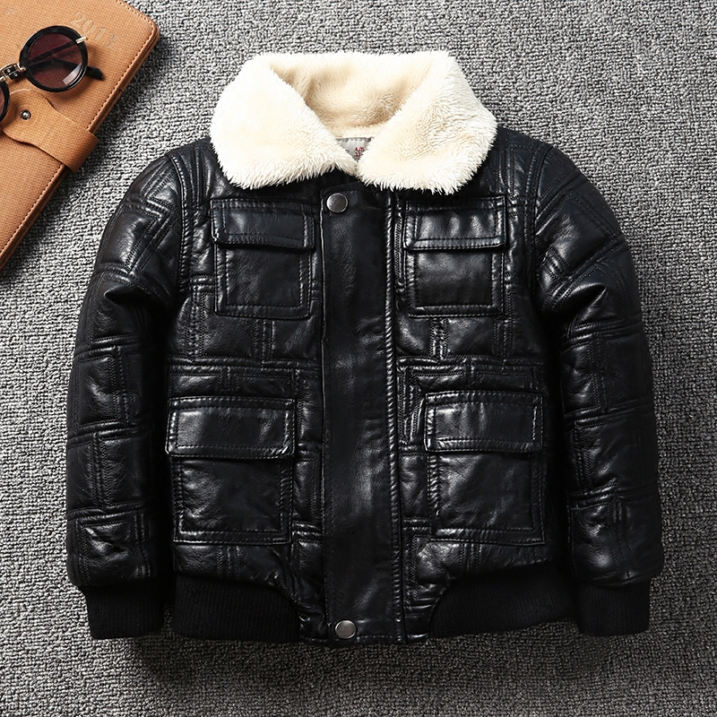 Infant Winter thick warm Outerwear Boys Leather Jacket Soft Breathable Leather Motor jacket for Kids Teenagers Children clothes