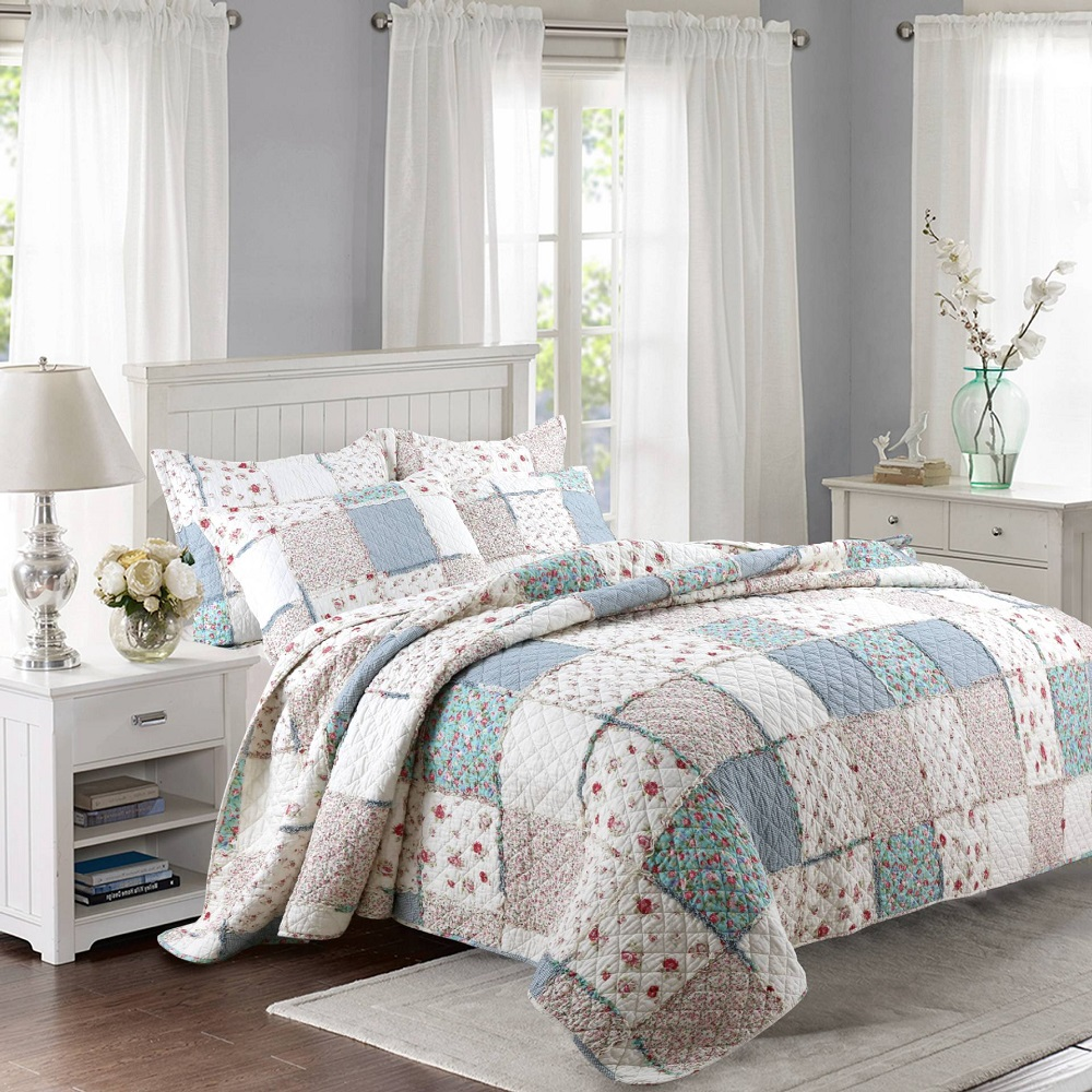 CHAUSUB 100% Cotton Patchwork Quilt Set 3PCS/4PCS Floral Printed Bedding Quilted Bedspread Bed Cover Duvet Cover Shams Coverlet drawer