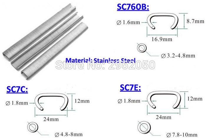 Pneumatique En Acier inoxydable C anneau ongles Hog ring nail pour SC7E SC7C SC760B pistolet à Air shipp libre par DHL