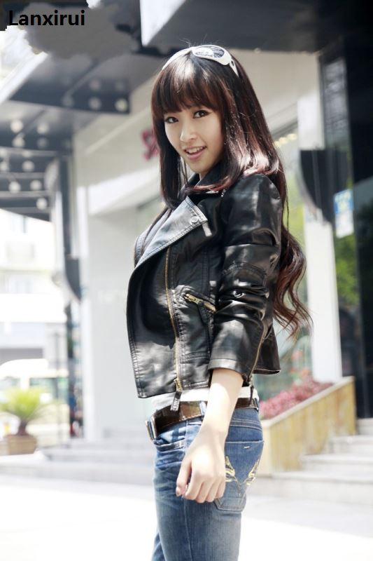 New Spring Women Leather Jacket Red Black PU Plus Size Jackets Motorcycle Leather Jacket Slim Casual Coat in Leather Jackets from Women 39 s Clothing