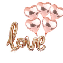 6pcs/set Love heart Foil Balloons Large Digit Helium wedding decorations Birthday Party Supplies Baby Shower