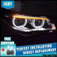 Car Styling Headlight assembly 11 14 for BMW series 520Li 525Li DoubleU Angel Eye LED DRL Lens Double Beam H7 hid kit with 2pcs.