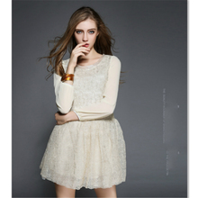 Europe 2016 New Autumn and Winter  Heavy Gold Embroidery Lace Early Autumn Slim Dress Fashion Cute Lace Women Dress