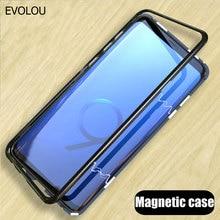 Магнитный чехол для samsung Galaxy A7 2018 Адсорбция металлический чехол для телефона с закаленным стеклом для samsung A9 J4 J6 плюс Примечание 9 8 S9 крышка