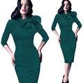 Vestidos Женщины Dress Лук Бальные Платья Sexy Club Хлопок Мода Осень Шеи До Колен Твердые Платья Зеленый Красный Черный