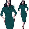 Vestidos Women Dress Bow Party Dresses Sexy Club Cotton Fashion Autumn Neck Knee-Length Solid Dresses Green Red Black