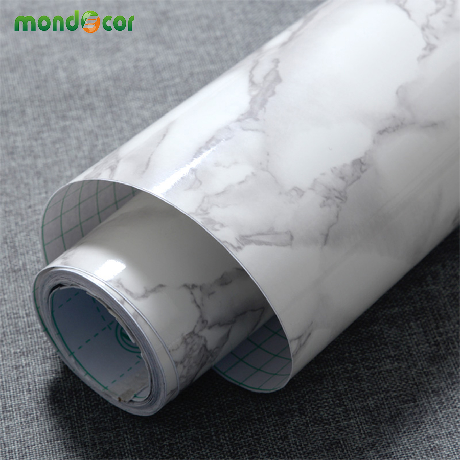 Waterproof Vinyl Self Adhesive Wallpaper Marble Paper Kitchen Cupboard