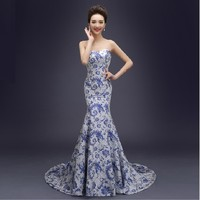 For Summer Chinese Traditional Dress Long Design Women S Costume Blue And White Porcelain Chinese Style